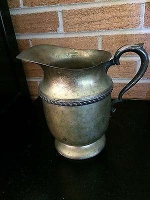 """World Silver on Copper Pitcher 7.75"""" tall Medieval deco type Patina"""