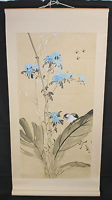 "Antique Vintage 30"" Japanese Gold Painted Scroll: Bird & White Flowers"