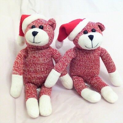 """Lot of 2 Red White Knitted Sock Bears Wearing Santa Hat by Galerie 9-1/2"""""""