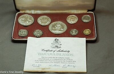 1973 Bahama Islands Coin of the Realm Proof Set Franklin Mint Silver