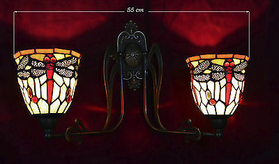 Stunning Art Nouveau vintage Bronze Brass Leaded Stained Glass Tiffany Dragonfly