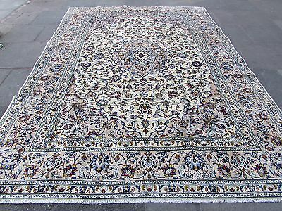 Fine Old Traditional Hand Made Persian Rugs Oriental Cream Wool Carpet 338x250cm