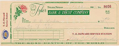 Rare Vint 1957 Dixie Oil Gasoline Co Check To Howard Service Station Tyler Texas