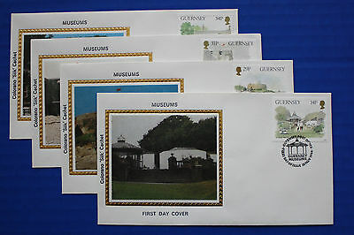 """Guernsey (342-345) 1986 Museums Colorano """"Silk"""" FDC set"""