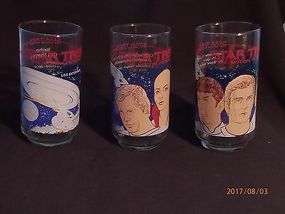 Lot Of 3 Star Trek The Motion Picture Coca Cola Vintage Glasses