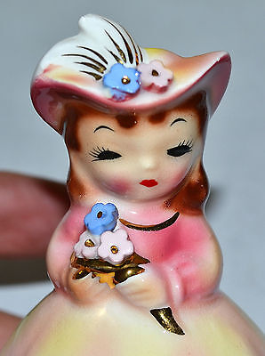 Perfect! Vintage Py, Napco Girl Lady Figurine, Pretty In Pink~Yellow, Flowers