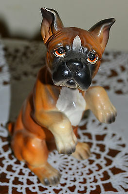 Vintage Lefton Boxer Puppy Dog, Sitting Up, Begging For A Treat Please, Figurine