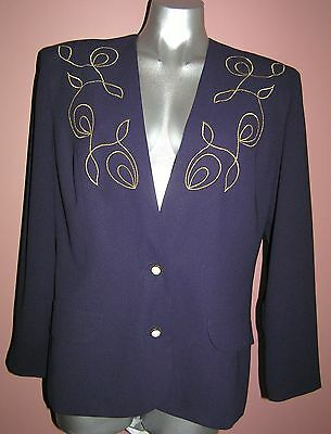 VINTAGE 80's DOLINA embroidered JACKET blazer SIZE 10 - 12