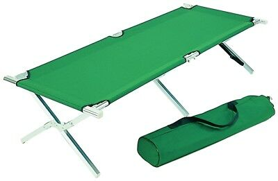 Aluminium Camp Cot XL 200 x 68 cm, Guest Bed, Folding Bed Green