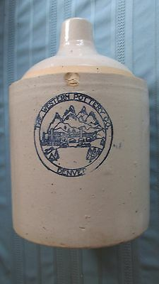 Denver Colorado Western Pottery Whiskey Jug-One Gallon-Early Stencil-1907-1910