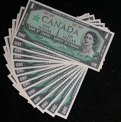 13 Crsip Uncirculated Canada 1867-1967 Centennial One Dollar Notes