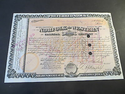 1880s ORIGINAL Norfolk & Western Railroad Preferred signed Frederick J. Kimball
