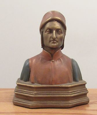 """Vintage painted copper Dante head bookend 7"""" tall x 6"""" wide"""