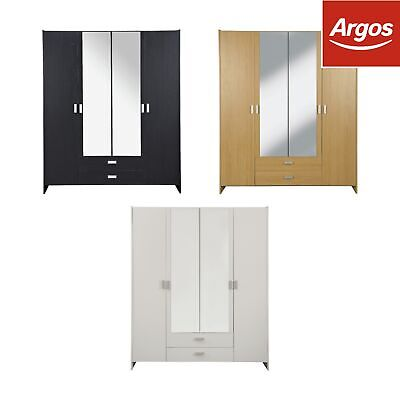 HOME New Capella 4 Door 2 Drawer Mirrored Wardrobe - Choice of Colour. -Argos