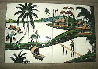 4 Piece Asian Wall Panel Village Scene, Lacquer And Texture Paint, Hand Painted