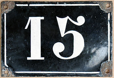 Large old black French house number 15 door gate plate plaque enamel metal sign