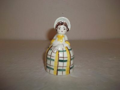 Vintage DiPalma Normandy Plaid Girl Figurine Decorative Ceramic Dinner Bell