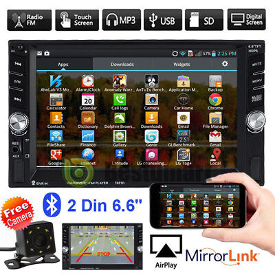 """6.6"""" Double 2DIN Bluetooth Touch Screen Car Radio Stereo MP5 MP3 Player HD + Cam"""