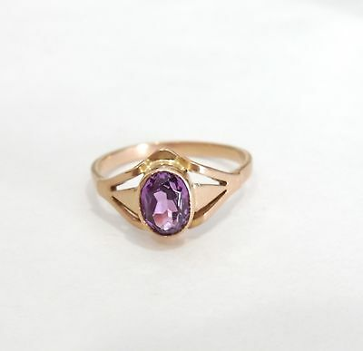 russischer Rotgold - Ring 583 Gold, Amethyst  ! ! !