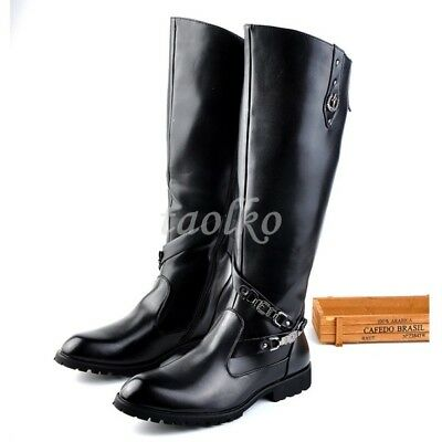 find lowest price select for original huge sale Men's Fashion Autumn Leather Knee High Boots Buckle Side Zippers Combat  boots Sz