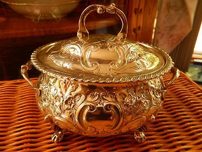 19th Cent. REPOUSSE STERLING Covered Footed SUGAR BOWL Flower Vine HEAVY 11.3ozt