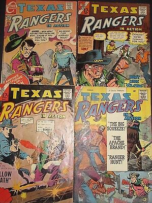 TEXAS RANGERS IN ACTION #20,44,55,67 Four Silver-Age Western Charlton Comics