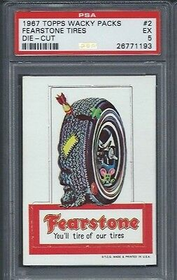 Wacky Packages 1967 Die Cut # 2 Fearstone Tires Psa 5 Ex