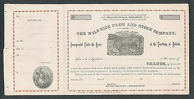 18?? Unissued The Wild Rice Farm And Stock Company Stock Cert - Dakota Territory