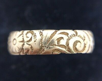 Unusual Antique Victorian 1888 Pretty Ornate 18ct Yellow Gold Band Ring