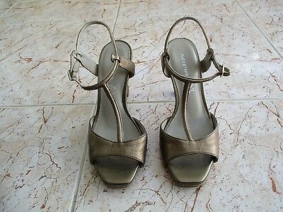 21f981d4d M S Autograph Ladies Size 6.5 Leather Beige Strappy Heels Sandals ...