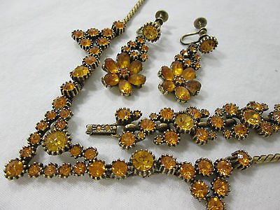 Amber Crystal Rhinestones Vintage Set Necklace Bracelet Earrings Estate Jewelry