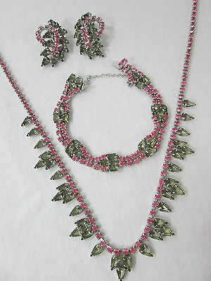 Vintage Set Pink Clear Crystal Rhinestones Necklace Bracelet Earrings Feminine
