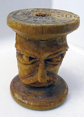 RARE EARLY 1900s FOLK ART HAND CARVED MAN WITH MUSTACHE FROM BELDING WOOD SPOOL
