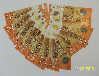 Lot 10 Nicaragua 20 Cordoba Bank Notes 2014 - New Polymer Consecutive Serial #