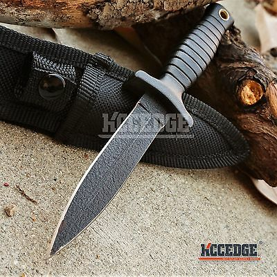 """7"""" BLACK COMBAT BOOT KNIFE Hunting Dagger Full Tang SPEAR MILITARY Bowie +Sheath"""