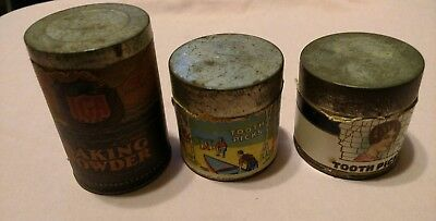 vintage lot of 3 containers 2 toothpick 1 baking powder