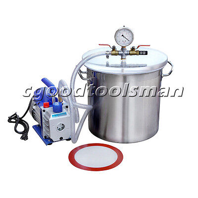 110V  5Gallons Stainless Steel Vacuum Bucket Vacuum Pump Degassing Silicone Kit