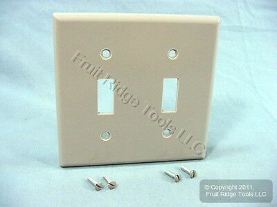 New Leviton Gray 2-Gang Toggle Switch Plastic Cover Wall Plate Switchplate 87009