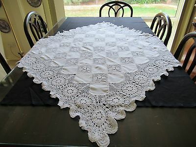 Vintage Hand-made SUPPER CLOTH with CROCHETED MEDALLIONS, WIDE EDGING some linen