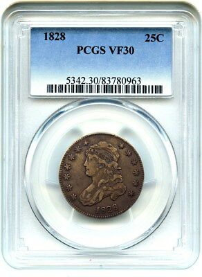 1828 25c PCGS VF30 - Last Year of Issue - Bust Quarter - Last Year of Issue