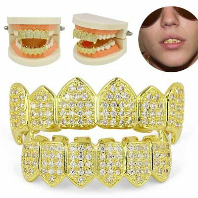 Gold Plated Glittering Diamonds Hip Hop Teeth Grillz Top Bottom Mouth Grill Set