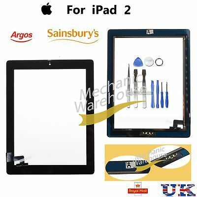 For iPad 2 Touch Screen Digitizer Front Glass Black With Home Button Adhesive UK