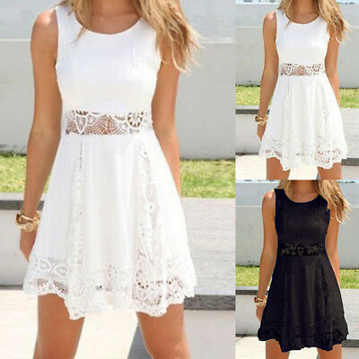 Women Summer Boho White&Black Lace Pelpum Sleeveless Cocktail Party Mini Dresses