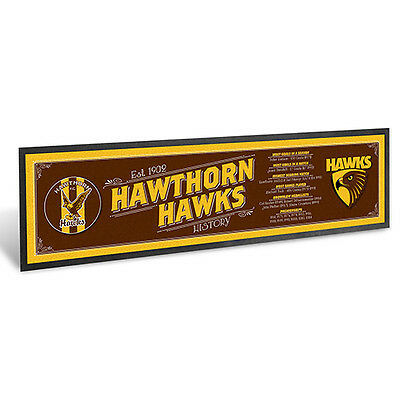 Hawthorn Hawks AFL Club History Printed Rubber Backed Bar Runner Mat New
