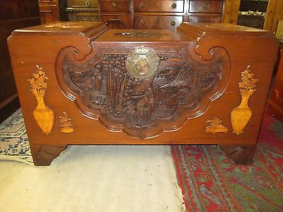 Chinese Oriental Carved Camphor Wood Camphorwood Blanket Chest Box