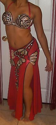 Professional Egyptian hand-made 2pieces Red Lycra Stretch  Belly Dance Costume