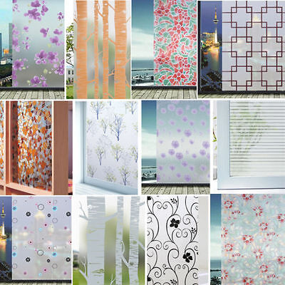 SN9F Frosted Cover Glass Window Black Floral Flower Sticker Film Office 45*200cm