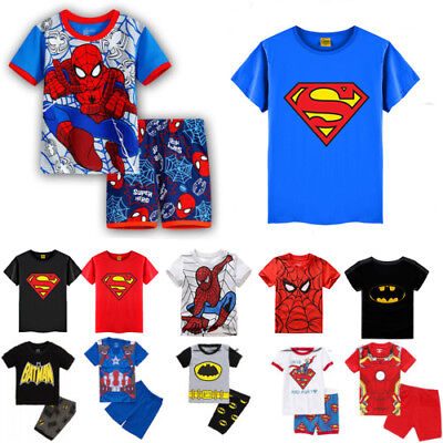 Kids Boy Superhero Spiderman Batman Shirt Set Cartoon Pajamas Tracksuit Costumes
