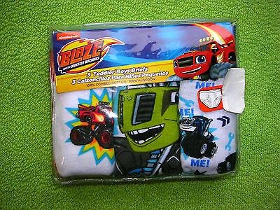 """BLAZE AND THE MONSTER MACHINES""   BOY'S  3 Pr  Pkg BRIEFS  SIZE 2T/3T  NWT #C"