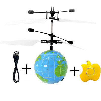 Remote RC Flying Ball Drone Helicopter Ball Built-in Shinning LED Earth kids Toy